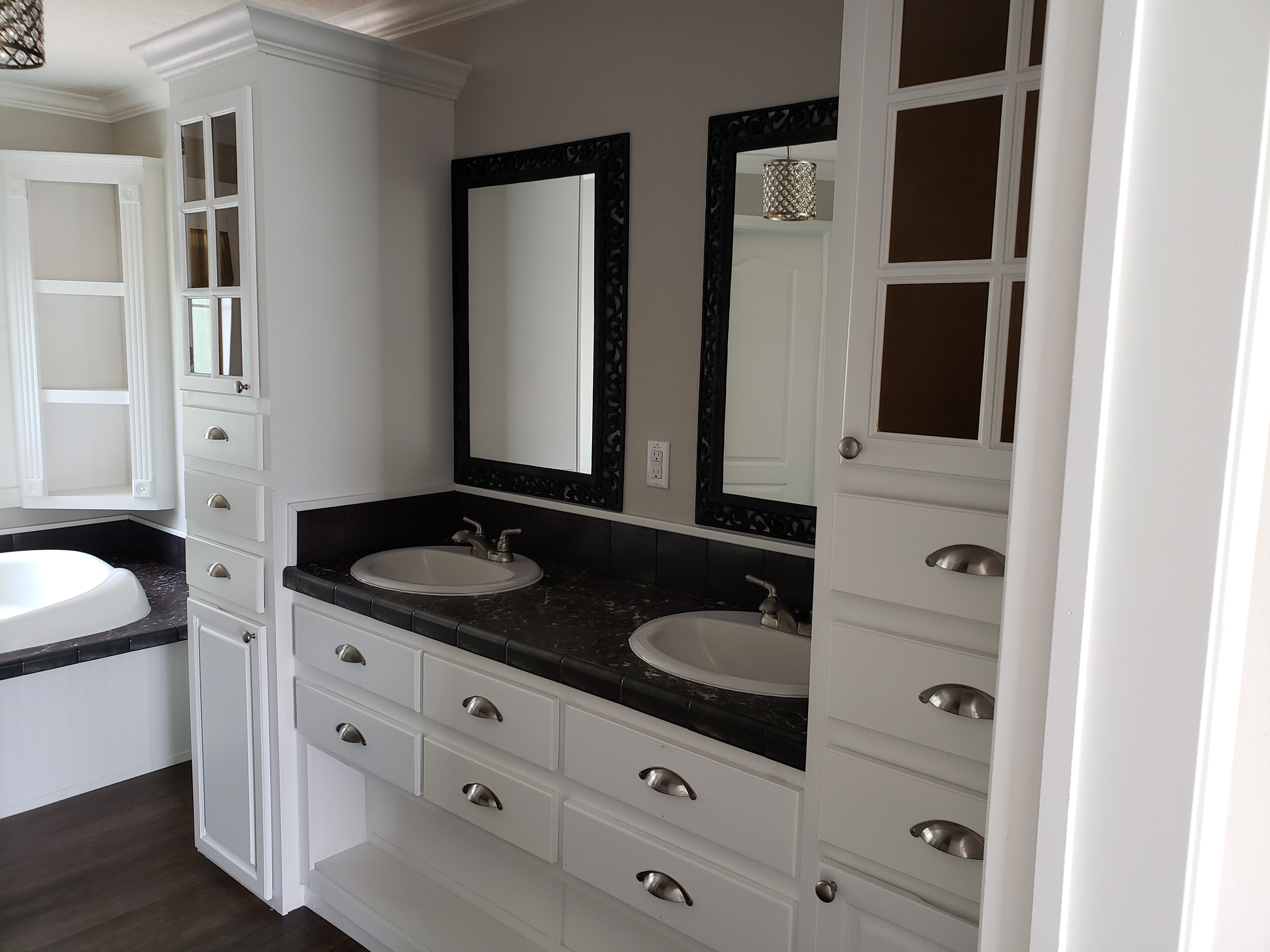 Model with double sink bathroom